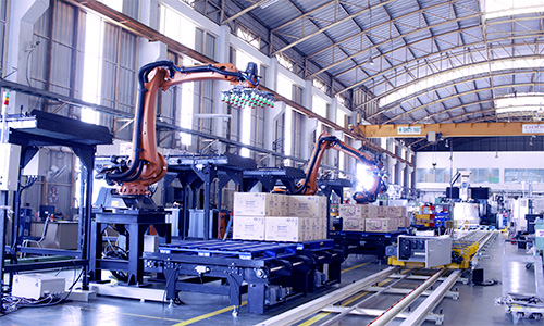Assorting line and Robot box palletizer